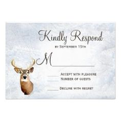 Winter Snow Camo Hunting Deer Wedding RSVP Cards