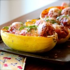 Use squash as the pasta and the serving dish for this fun and beautiful fall dinner - Spaghetti Squash  Meatballs.