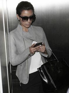 fashion, cloth, style, kim kardashian, outfit, grey, leather jackets, coat, black pants