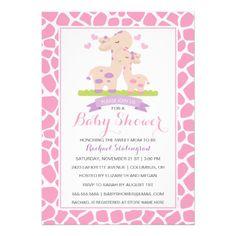 Sweet Pink Baby Girl Giraffe Jungle Baby Shower Custom Announcement