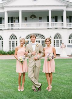blush bridesmaids and khaki suits- the bow tie makes this officially an southern affair!