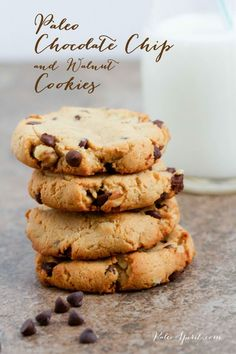Paleo Chocolate Chip Cookies with Walnuts...use preferred sweetener
