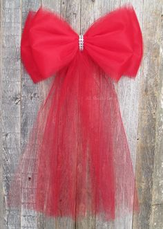 Red Tulle Bow with B