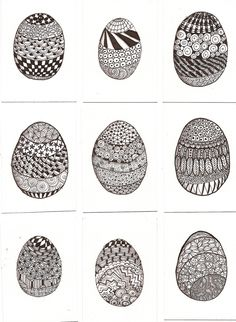 ATC Zentangle Easter Eggs by ~claudiamm37 on deviantART