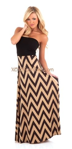 Black and Tan Chevron Maxi Dress | Affordable and Trendy Boutique Clothing | Maxi Skirt
