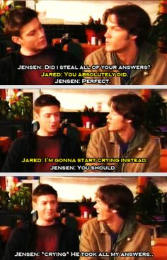 [gifset] #Jensen and #Jared joking around during an interview.