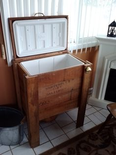 DIY cooler for grill area with reclaimed wood