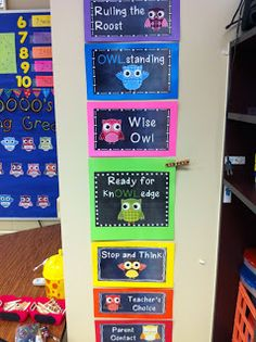 Owl themed behavior clip chart & other owl decorating ideas