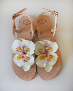 Sandals - Handmade Sandals, decorated with 2 light yellow orchids #sandals #marmade #summer