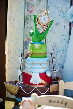 """An amazing cake at an """"Off to Neverland"""" Themed Birthday Party with So Many Cute Ideas via Kara's Party Ideas   KarasPartyIdeas.com #PeterPanParty #TinkerbellParty #PirateParty #Neverland #cake"""
