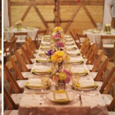 wooden chairs, table settings, wedding receptions, barn reception, country weddings, barn weddings, round tables, long tables, flower