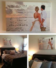 The sweetest wedding keepsake - a custom canvas with one of your wedding portraits alongside your wedding vows. Makes for the perfect headboard!