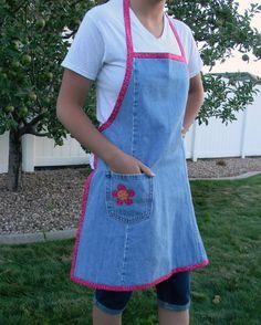 Women's denim apron  by BringingJoy by BringingJoy on Etsy, $17.99