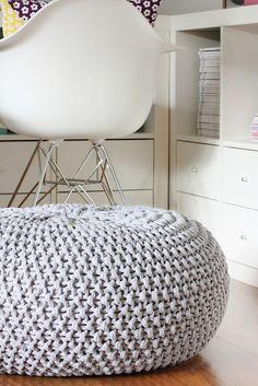 Crochet pouf for the boys room!