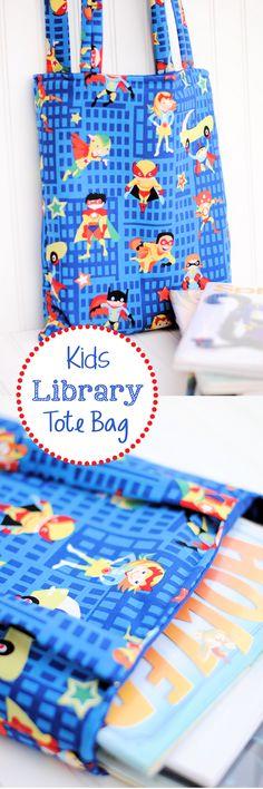library bag, librari bag, kid books, easy sew bag, kid librari