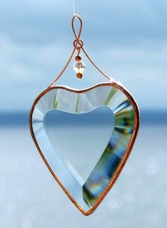 Clear Beveled Glass Heart Ornament with Beads and by SNLCreations, $17.50