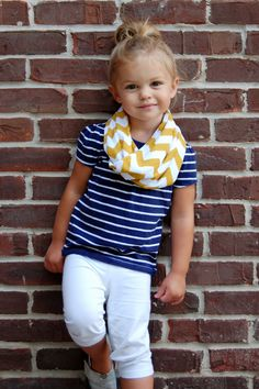 adorable baby girl outfits, little girls, infinity scarfs, little girl outfits, daughter, white pants, toddler, kid, chevron stripes