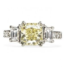 """""""Sunny Springs"""" Vintage Fancy Yellow Diamond Engagement Ring #wedding #engagement #bride #jewelry #fashion #ring"""