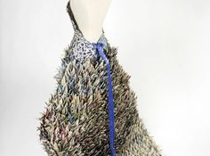 Amazing recycled paper crane dress