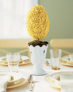 yellow floral egg topiary