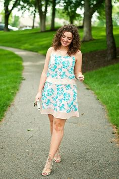 Pink and blue floral crop top and skirt