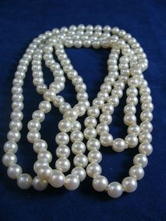 "FAUX PEARL NECKLACE 58"" LONG"