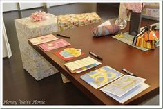 Cute baby shower idea: All of the guests signed future birthday cards to be opened by baby on her 1st, 5th, 10th, 16th, 18th, and 21st birthday.