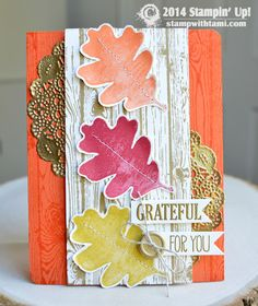 "Stampin Up STAMP IT BLOG HOP: Grateful for You Card...My share is this gorgeous ""Grateful for You"" thanksgiving card featuring the For All Things stamp set in the Holiday Catalog.  The Stampin Up Tea Lace Doilies were coated in Versamark ink, then heat embossed in gold ink.Love the Gold Metal button accent that pulls it all in."