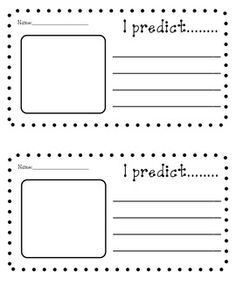 """This is a small sheet that I use with my kiddos whenever introducing a new story that we will be studying for a few days. The first day that introduce the story I always model a picture walk and think aloud. The kiddos then make predictions (on this document) based on what we saw and thought about the story. Then we fold them up and place them in a """"Prediction Pail."""" After we read the story we quickly go through all of the predictions and see how close their thinking was to the actual story."""