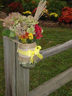 Fall Wedding - Mason Jars on a fence post