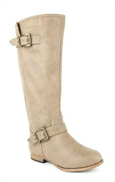Deb Shops Flat Riding #Boot with Studded Straps