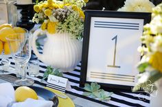 Modern black and white stripe table number and placecards created by Matinae Design Studio for Jessica Frey Wedding Workshop in Malibu. www.matinaedesignstudio.com