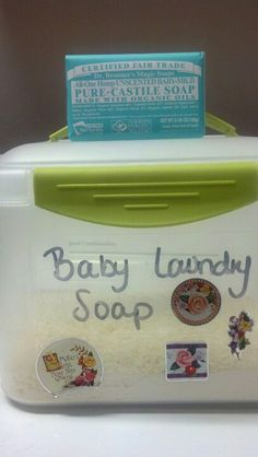 DIY baby laundry soap success! I made a small batch with Dr. Bronners magic baby soap. Super easy and cheap!