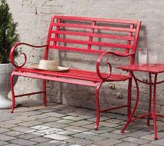 Red Metal Garden Bench