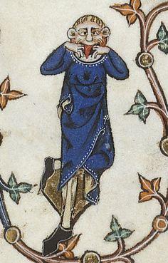 Gorleston Psalter - 123r:  detail of a marginal creature pulling a face