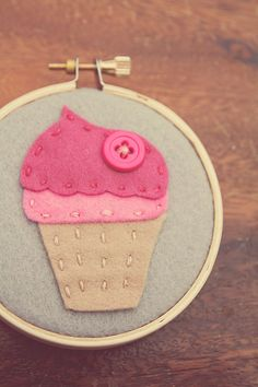 Mini Embroidery Hoop Art Felt Pink Cupcake 3inch by CatshyCrafts, $25.00