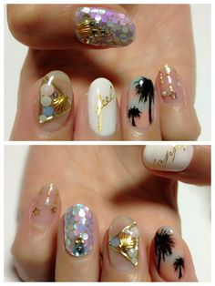 palm, tree, color, nail designs, manicur, nail arts, summer nails, beach nails, audrey kitching