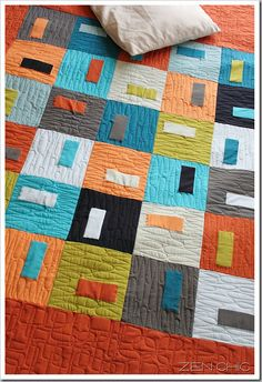Puzzle Box Quilt from Moda Bakeshop  I love the simple design of this quilt! I really want to do something with solids.  #modabakeshop #modafabrics #lovepinwin