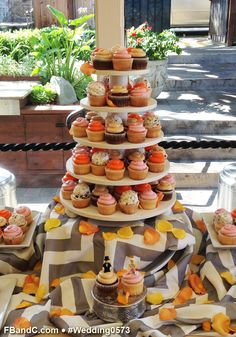 Design W 0573 | Assorted Cupcakes in tower and assorted platters with fresh flowers | Custom Quote