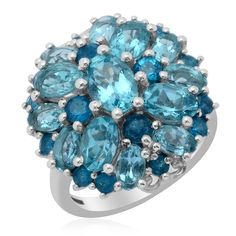 Liquidation Channel | Paraiba Apatite and Malgache Neon Apatite Ring in Platinum Overlay Sterling Silver (Nickel Free)
