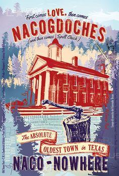 Print of: Love Nacogdoches Texas Vintage Art Poster  - Lance LaRue