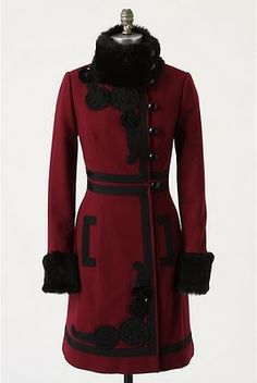 russian traci rees, fashion, red, cloth, style, andrick coat, anthropologie, coats, anthropologi andrick