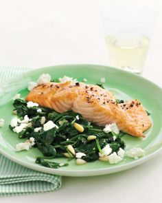 Broiled Salmon with Spinach-and-Feta Saute Recipe