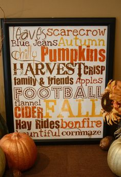 FREE Fall Subway Art! Gonna print this and use it as a centerpiece when our families come in for our Fall Harvest Soup!