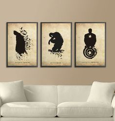 I want these! Nice set of posters featuring Batman, Spider-man, and Captain America.