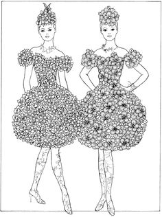 From: Creative Haven Flower Fashion Fantasies Coloring Book Dover Publications
