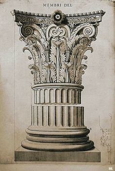 CORINTHIAN capital from - Labacco, Antonio (1495 - 1567) - Capital & Base From The Temple Of Castor & Pollux Rome [Engraving by Mario Labacco] (1559)