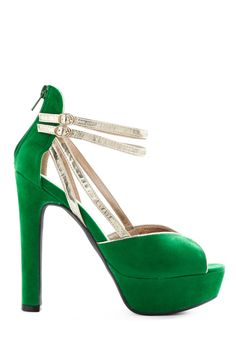 green and gold heels