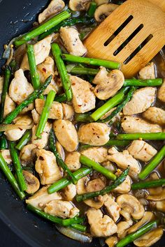 Ginger Chicken Stir-Fry with Asparagus and Mushrooms
