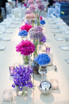 Mod blue and purple. Photography by jwinterphoto.com, Floral Design   Decor by eventcreative.com, Coordination by fivegrainevents.com winter photography, simple centerpieces, decor party, bridal parties, blue weddings, party tables, long tables, wedding centerpieces, flower